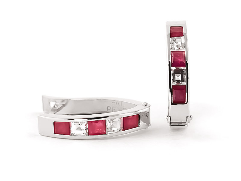 Ruby and White Topaz Acute Huggie Earrings 1.26ctw in 14K White Gold