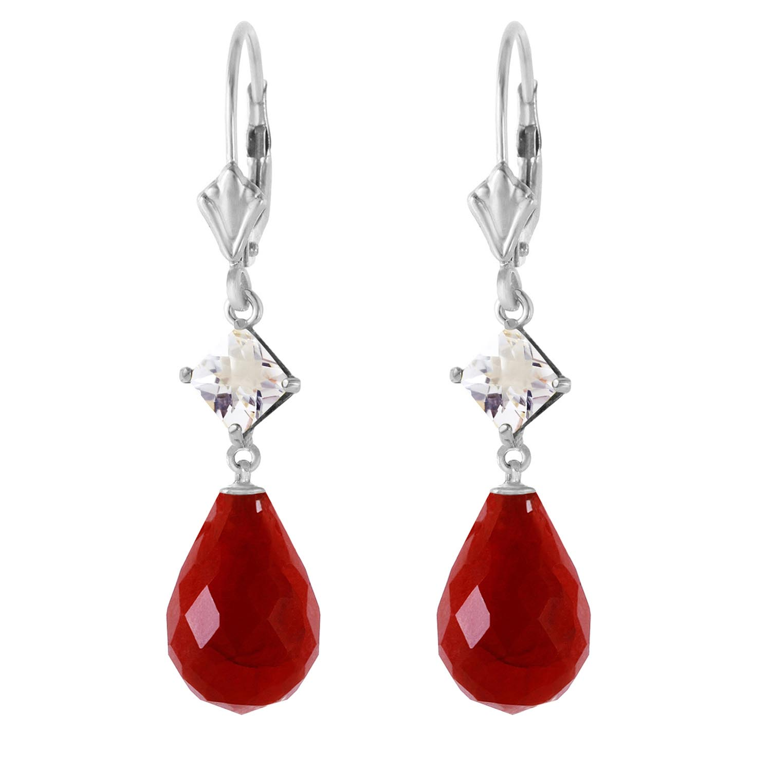 Ruby and White Topaz Drop Earrings 18.6ctw in 14K White Gold