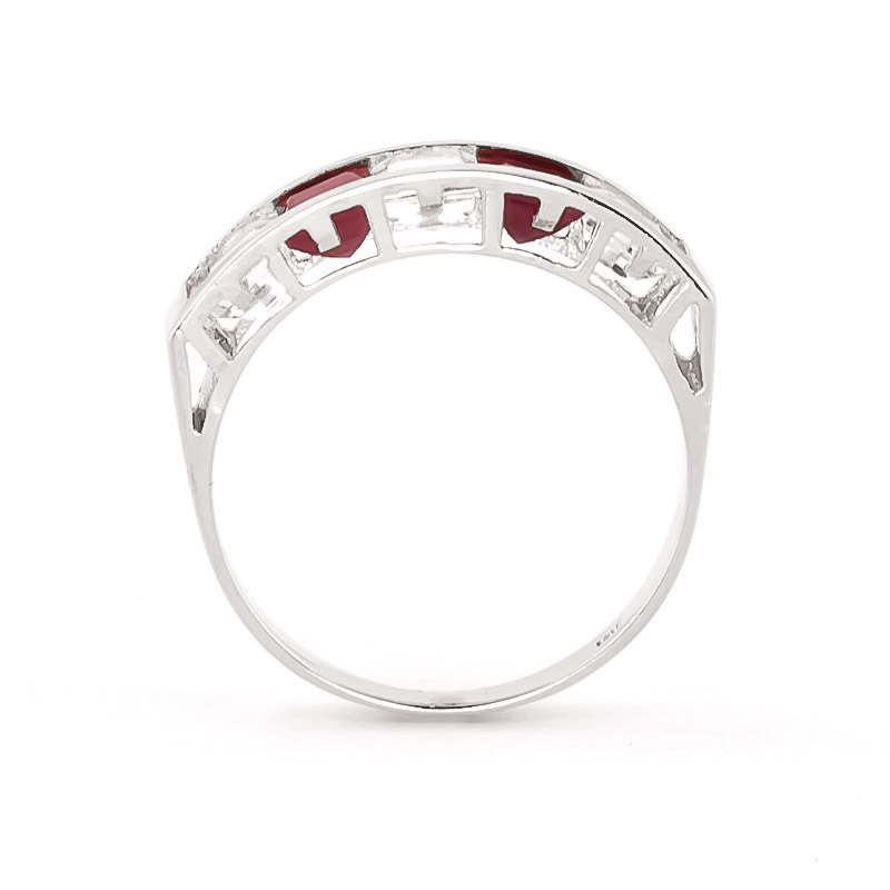 Ruby and White Topaz Ring 2.35ctw in 14K White Gold