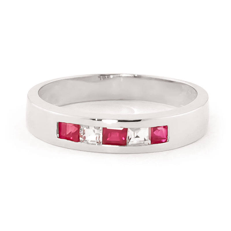 Ruby and White Topaz Ring 0.78ctw in 14K White Gold