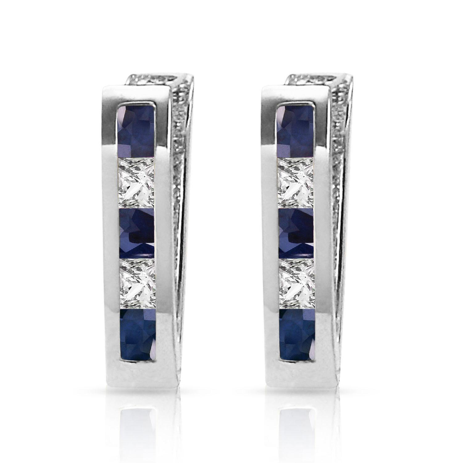 Sapphire and White Topaz Acute Huggie Earrings 1.26ctw in 9ct White Gold
