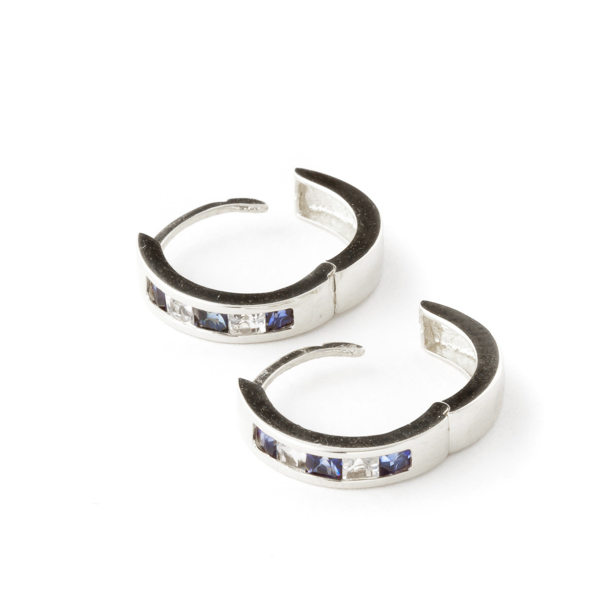Sapphire and White Topaz Huggie Earrings 1.26ctw in 9ct White Gold