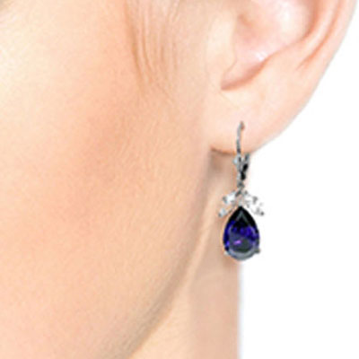 Sapphire and White Topaz Drop Earrings 9.3ctw in 14K White Gold