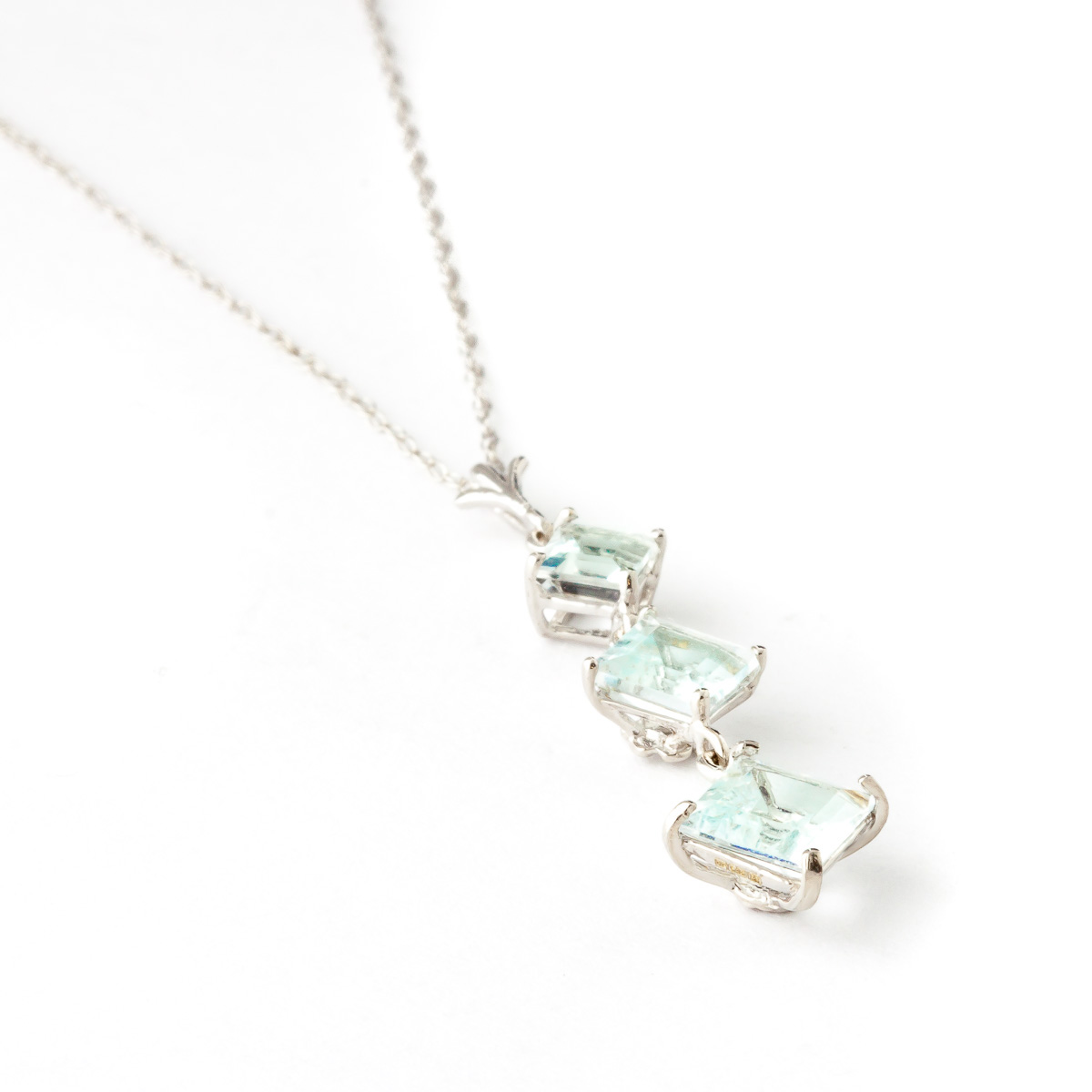 Aquamarine Three Stone Pendant Necklace 2.4ctw in 9ct White Gold