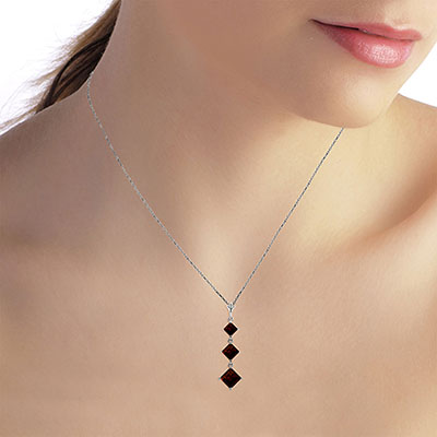 Garnet Three Stone Pendant Necklace 2.4ctw in 9ct White Gold