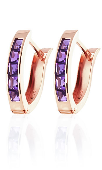 Amethyst Acute Huggie Earrings 0.85 ctw in 9ct Rose Gold