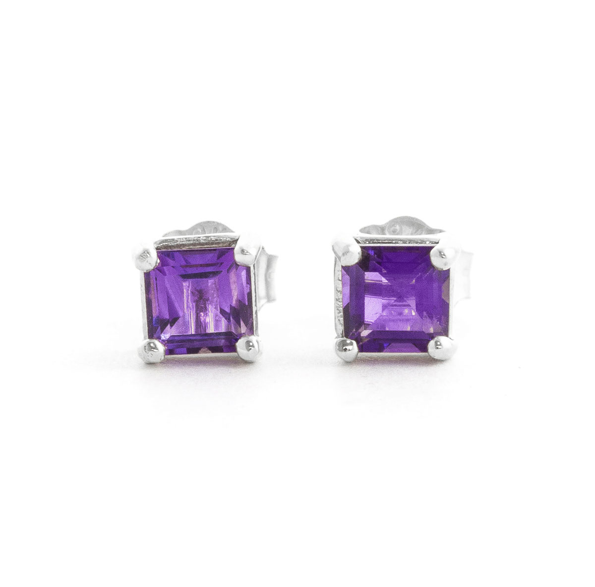 Image of            Amethyst Alexandra Stud Earrings 0.65 ctw in 9ct White Gold