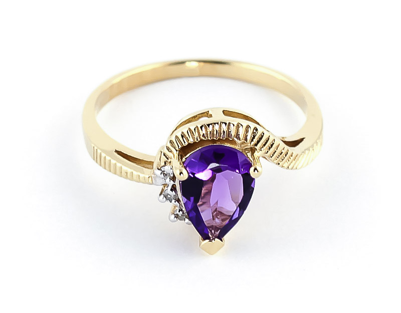 Amethyst & Diamond Belle Ring in 9ct Gold