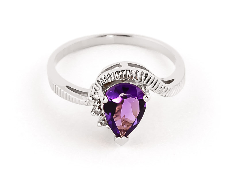 Amethyst & Diamond Belle Ring in 18ct White Gold