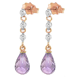 Amethyst & Diamond Chain Droplet Earrings in 9ct Rose Gold