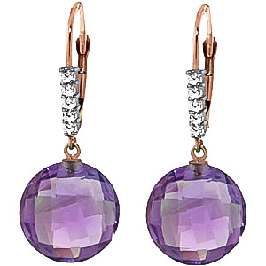 Amethyst & Diamond Chequer Drop Earrings in 9ct Rose Gold