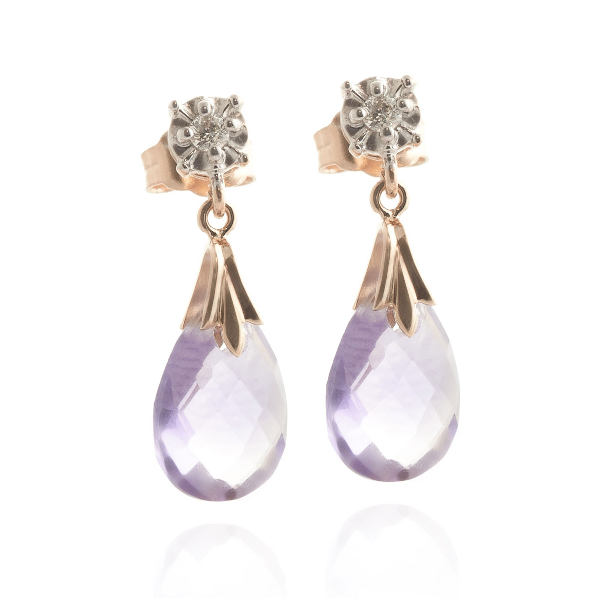 Amethyst & Diamond Comet Stud Earrings in 9ct Rose Gold