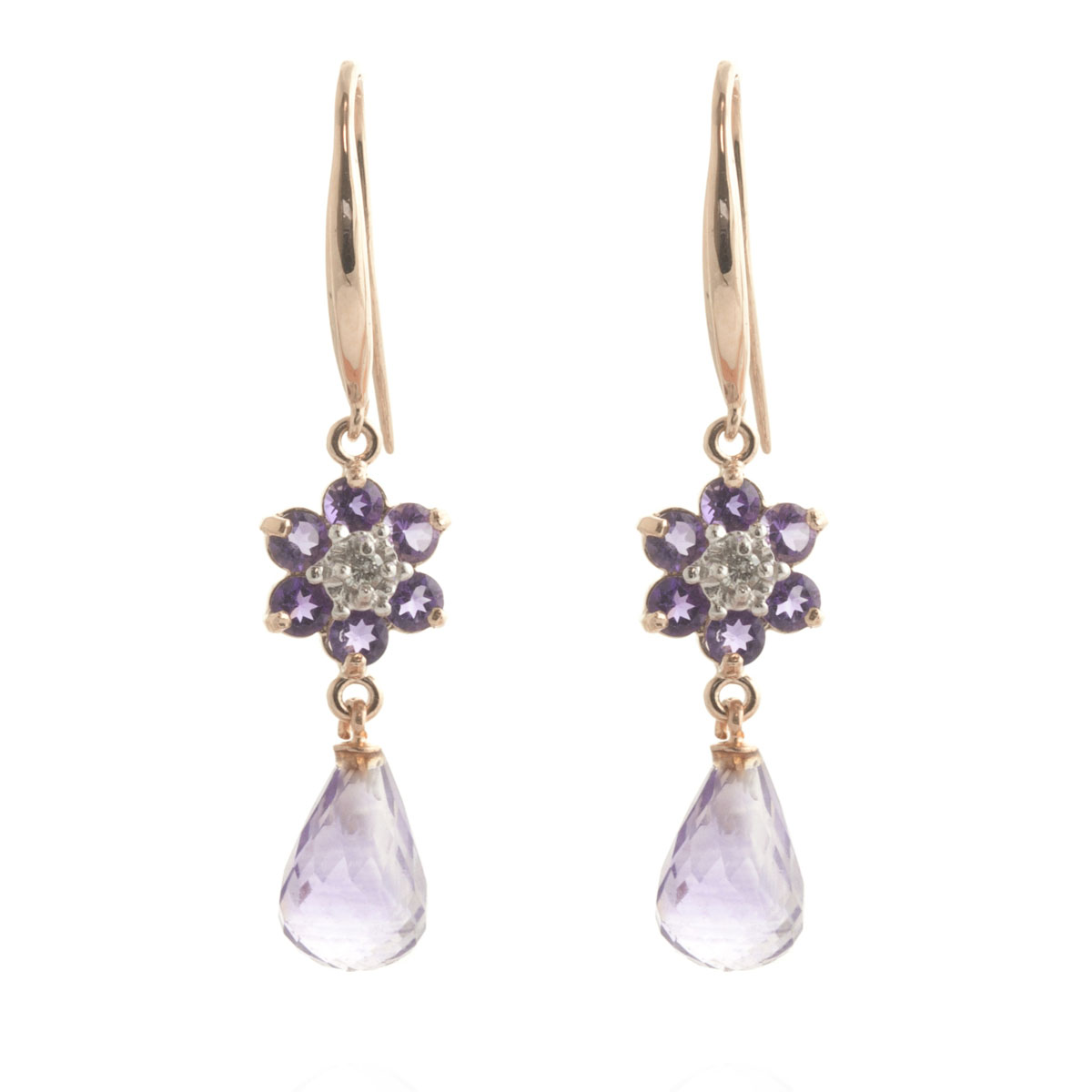 Amethyst & Diamond Daisy Chain Drop Earrings in 9ct Rose Gold