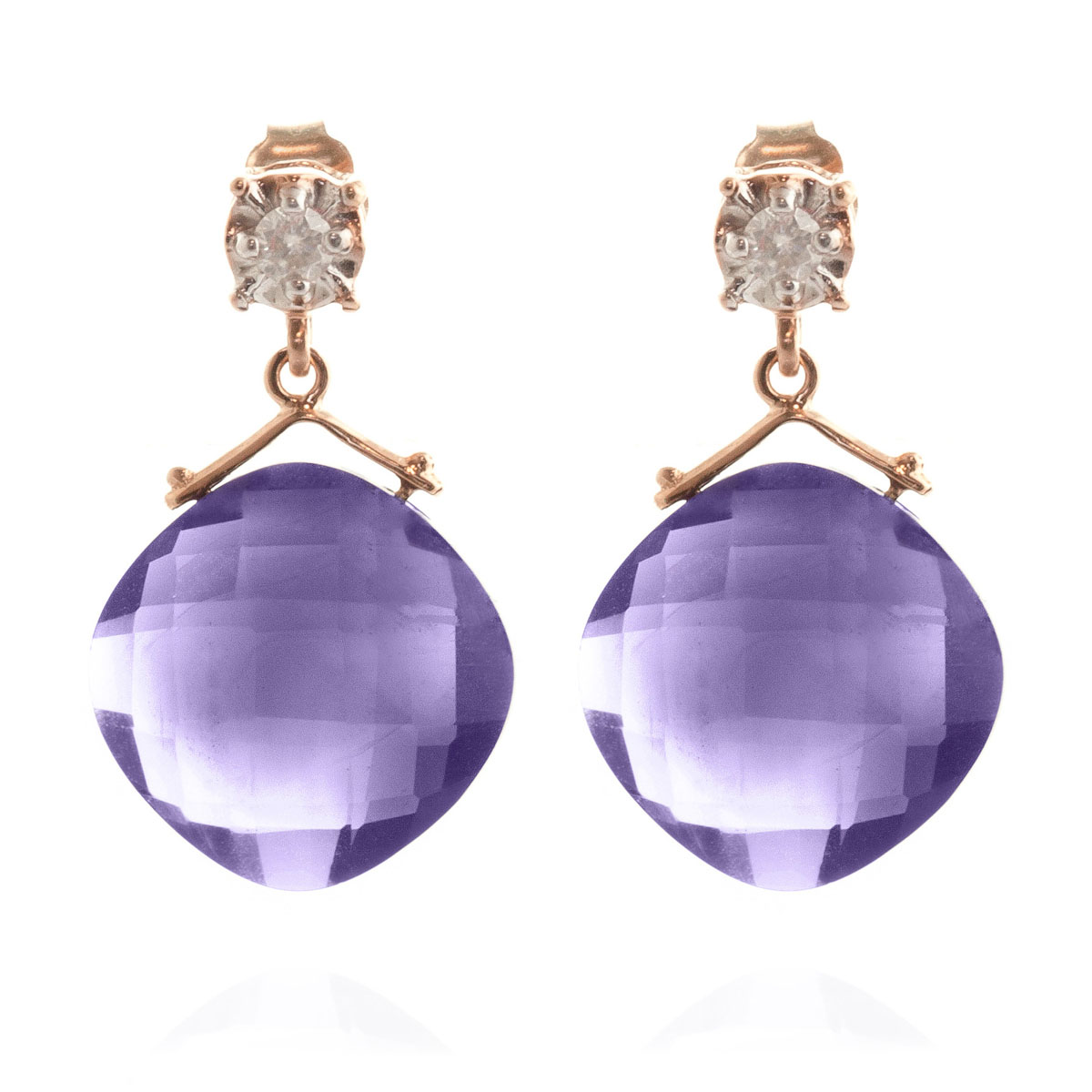 Amethyst & Diamond Deflection Stud Earrings in 9ct Rose Gold