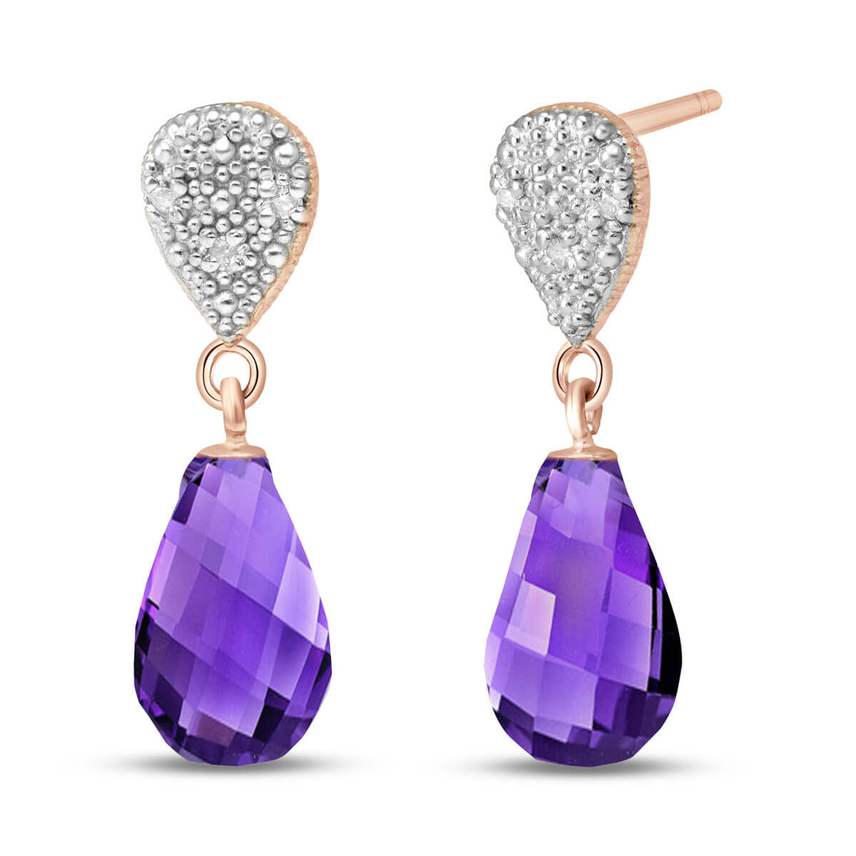 Amethyst & Diamond Droplet Earrings in 9ct Rose Gold