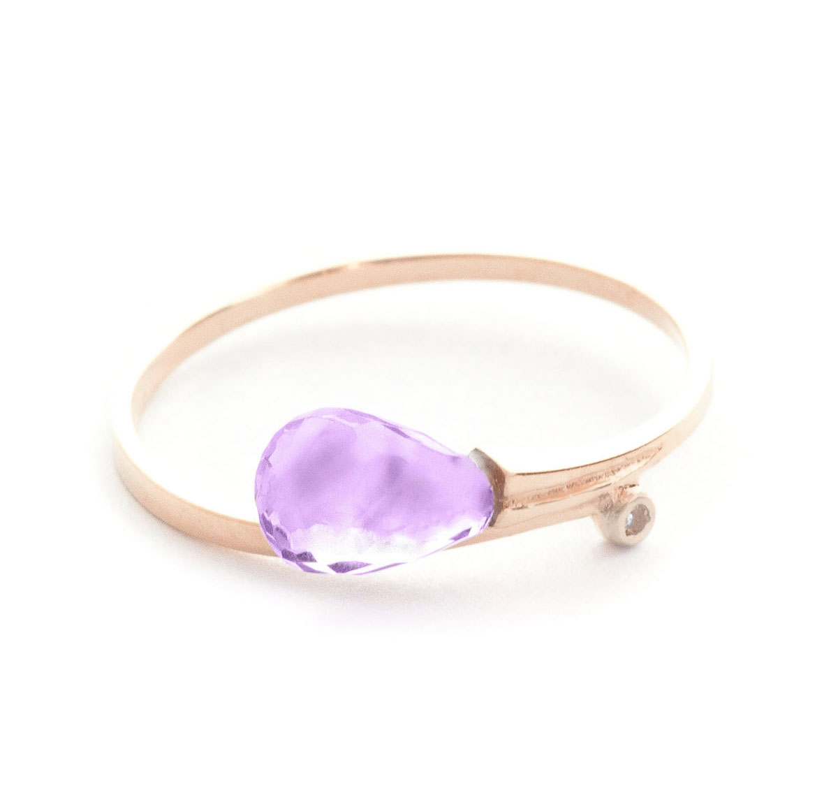 Amethyst & Diamond Droplet Ring in 18ct Rose Gold