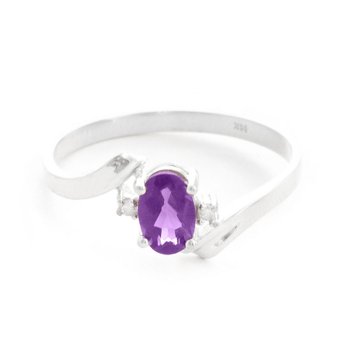 Amethyst & Diamond Embrace Ring in 18ct White Gold