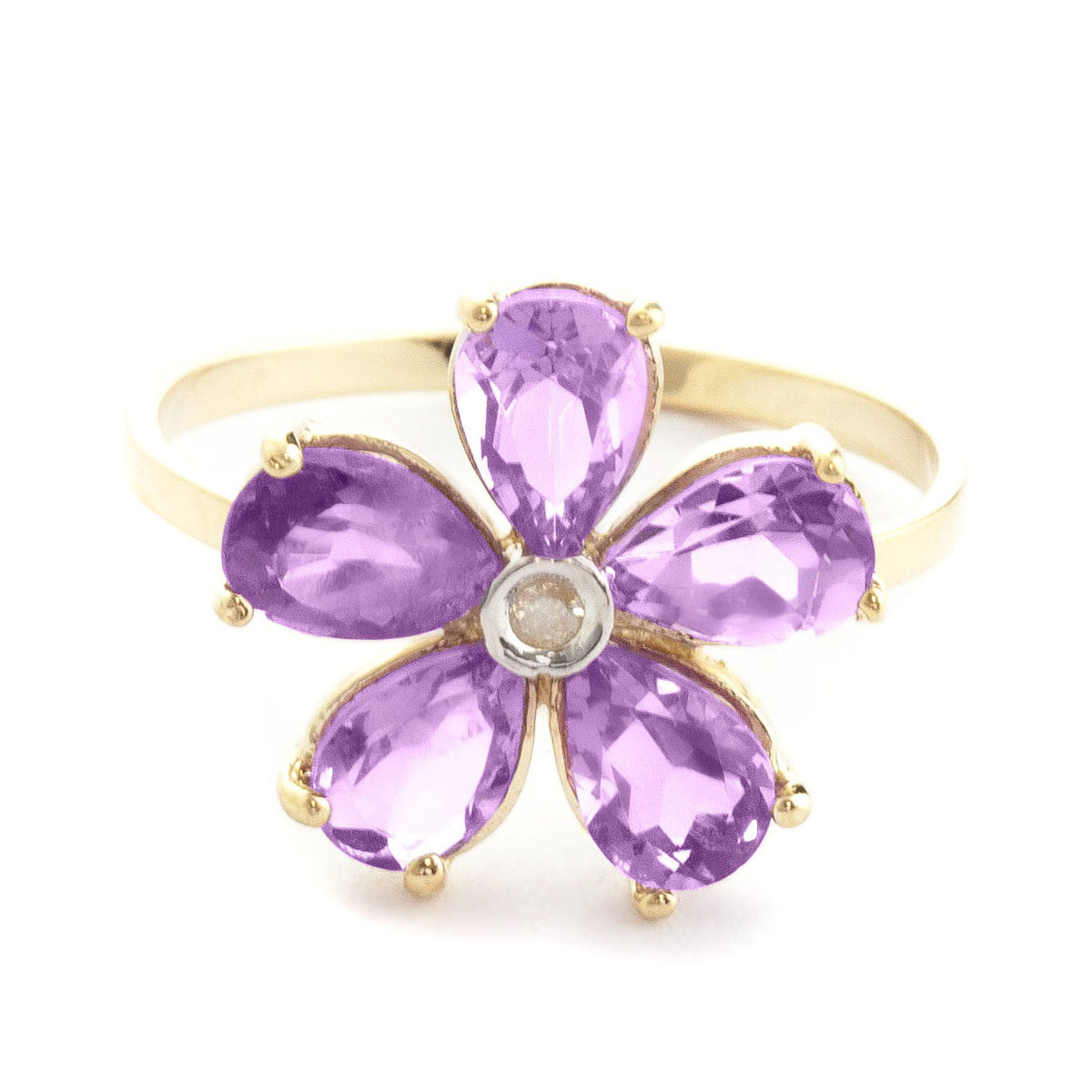 Amethyst & Diamond Five Petal Ring in 9ct Gold