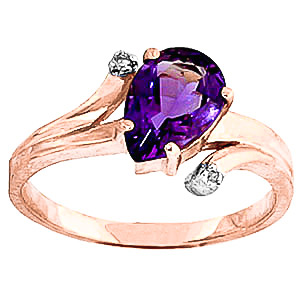 Amethyst & Diamond Flank Ring in 18ct Rose Gold