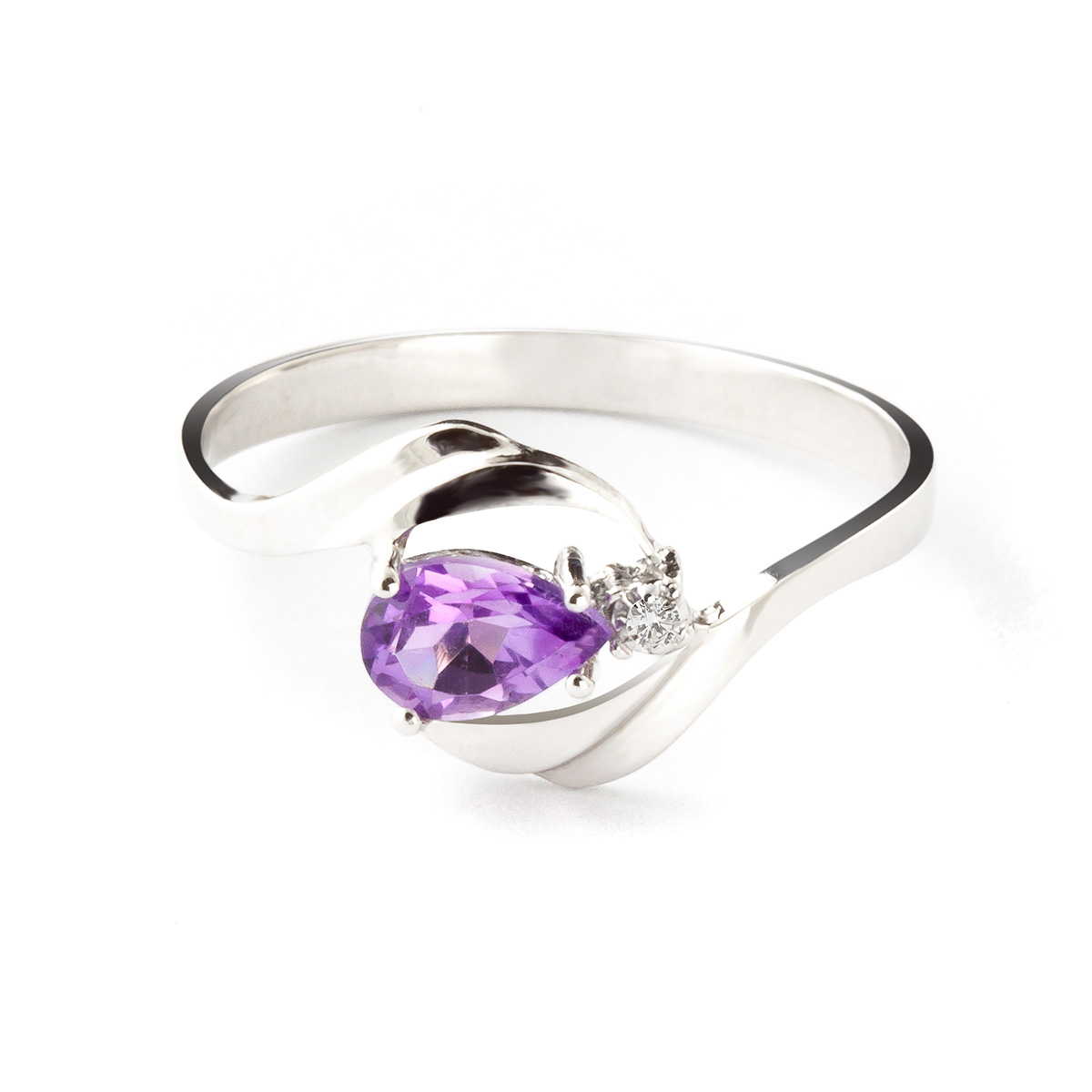 Amethyst & Diamond Flare Ring in 18ct White Gold