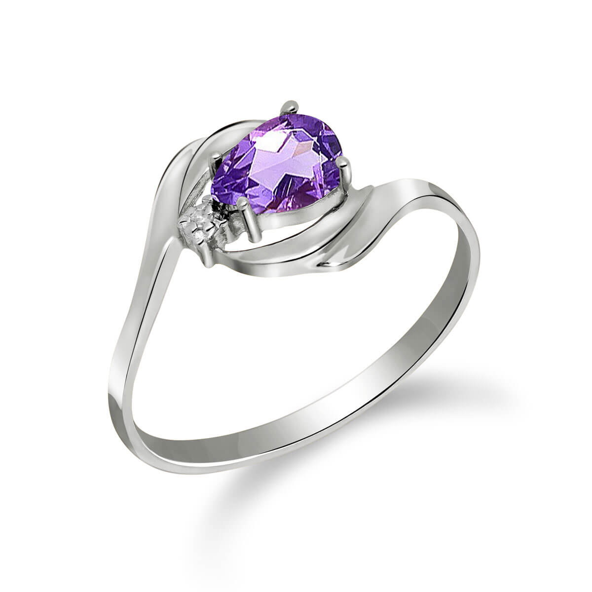 Amethyst & Diamond Flare Ring in 9ct White Gold