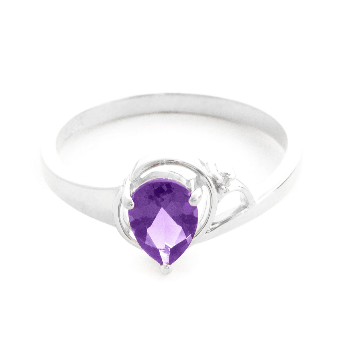 Amethyst & Diamond Glow Ring in 9ct White Gold