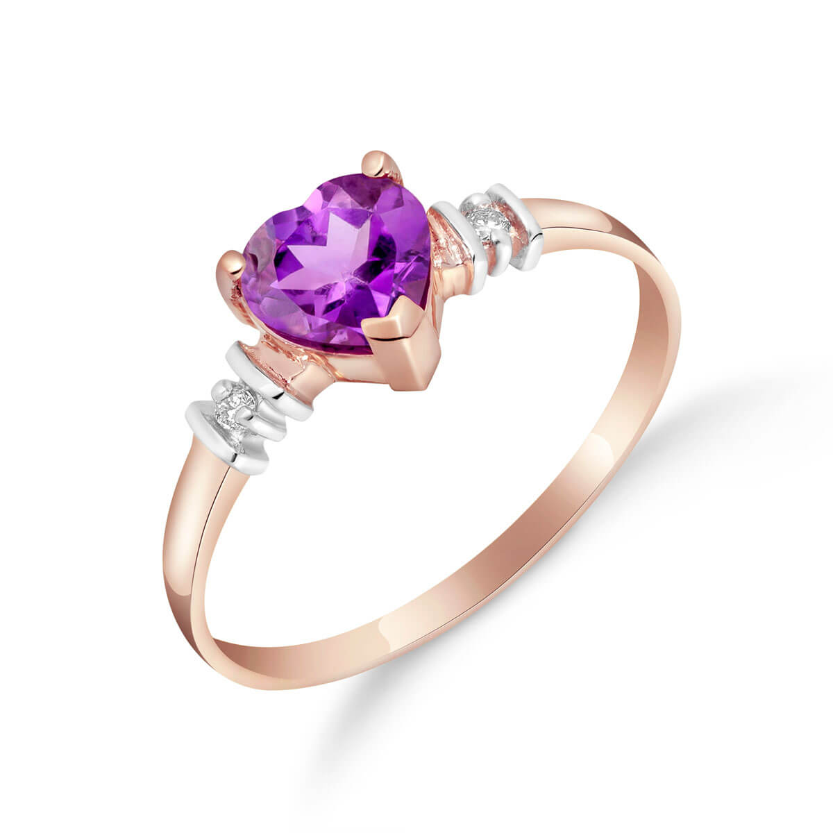 Amethyst & Diamond Heart Ring in 9ct Rose Gold