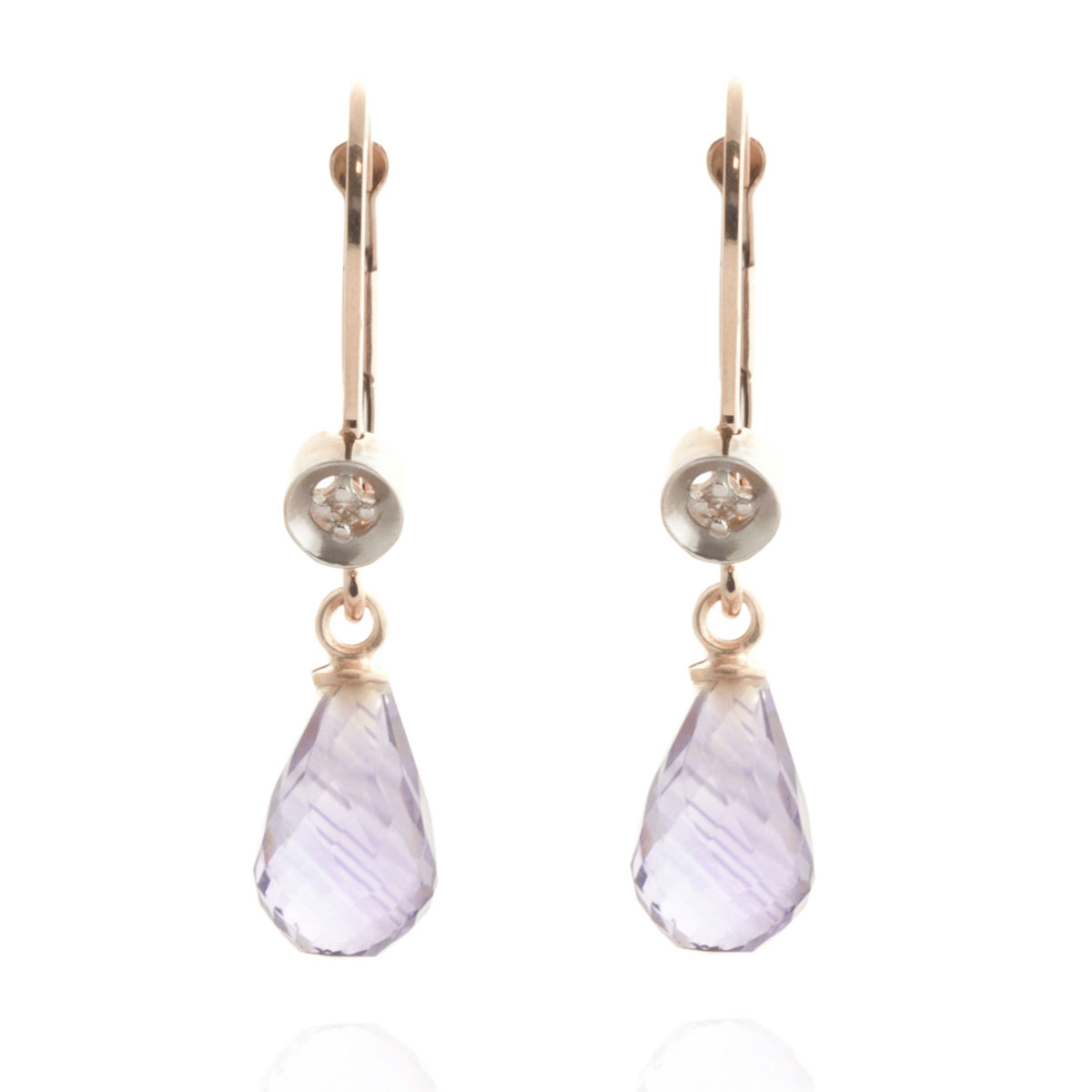 Amethyst & Diamond Illusion Drop Earrings in 9ct Rose Gold