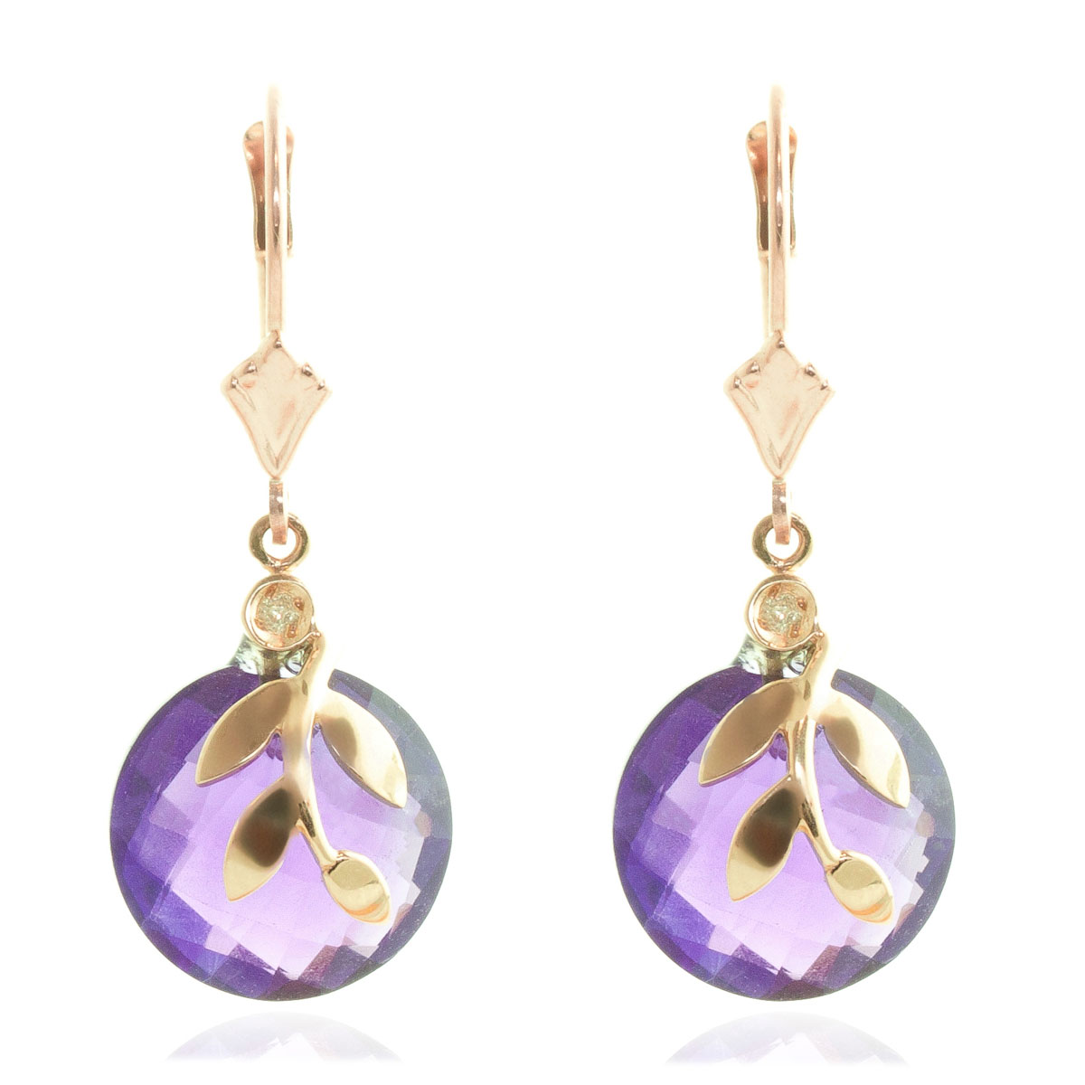 Amethyst & Diamond Olive Leaf Drop Earrings in 9ct Rose Gold