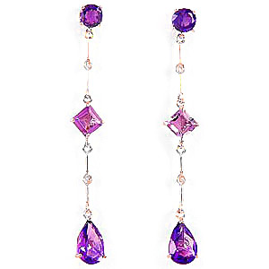 Amethyst & Diamond Palermo Drop Earrings in 9ct Rose Gold