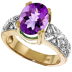 Amethyst & Diamond Renaissance Ring in 18ct Gold