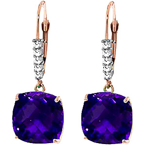 Amethyst & Diamond Rococo Drop Earrings in 9ct Rose Gold