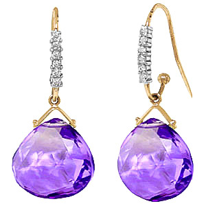 Amethyst & Diamond Stem Drop Earrings in 9ct Gold