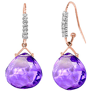 Amethyst & Diamond Stem Drop Earrings in 9ct Rose Gold