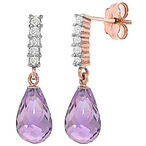 Amethyst & Diamond Stem Droplet Earrings in 9ct Rose Gold