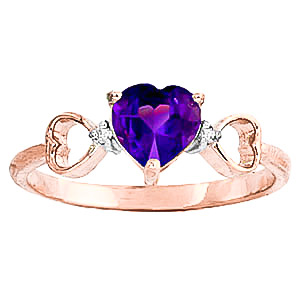 Amethyst & Diamond Trinity Ring in 18ct Rose Gold