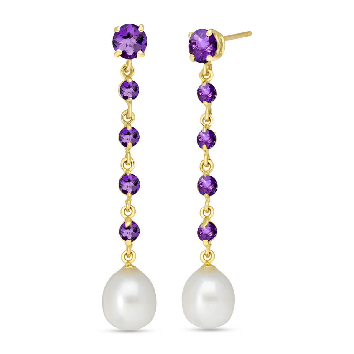 Amethyst & Pearl by the Yard Drop Earrings in 9ct Gold