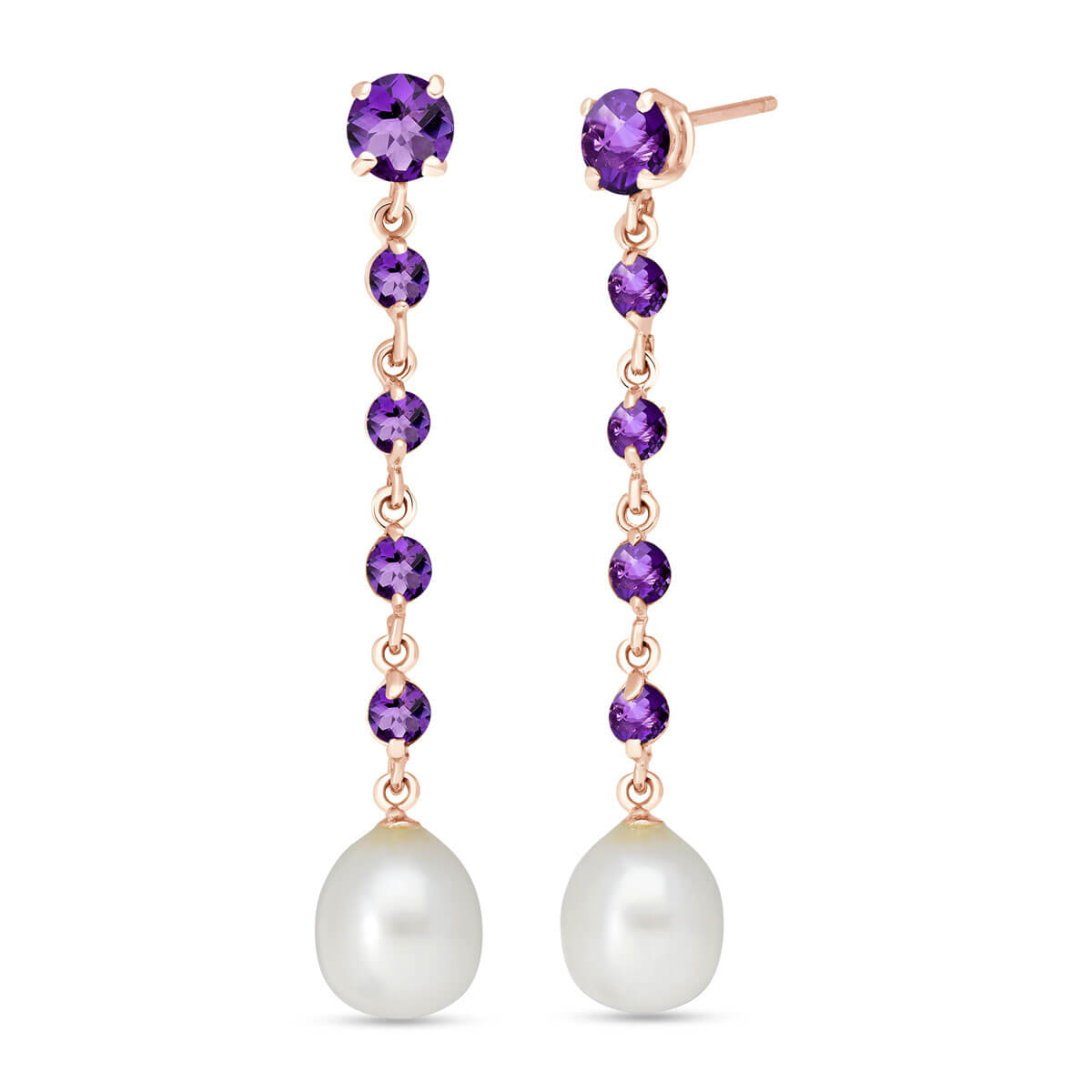 Amethyst & Pearl by the Yard Drop Earrings in 9ct Rose Gold