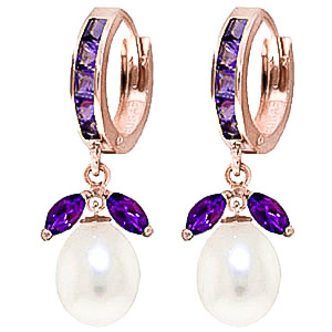 Amethyst & Pearl Dewdrop Huggie Earrings in 9ct Rose Gold