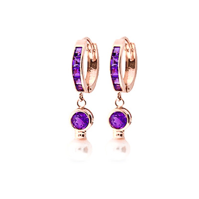 Amethyst & Pearl Huggie Earrings in 9ct Rose Gold