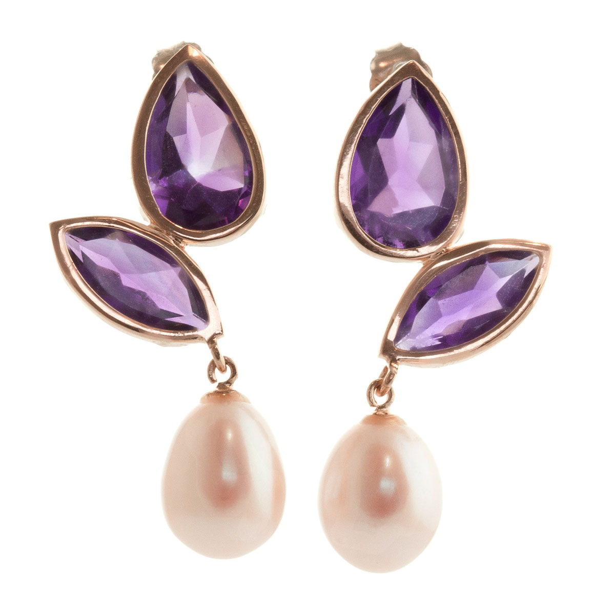 Amethyst & Pearl Petal Drop Earrings in 9ct Rose Gold