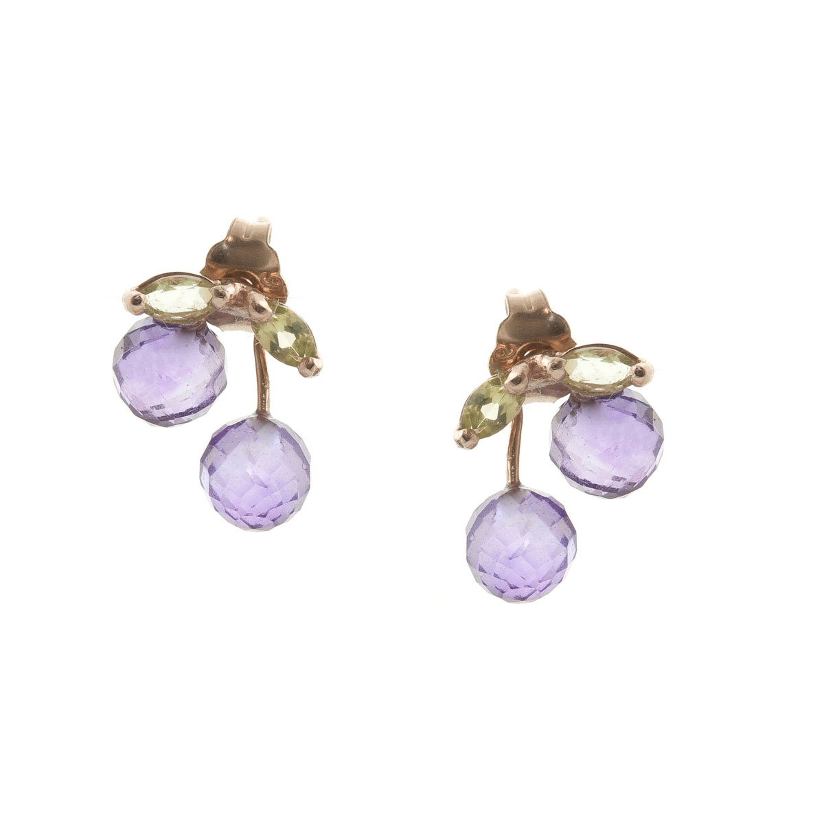 Amethyst & Peridot Cherry Drop Stud Earrings in 9ct Rose Gold