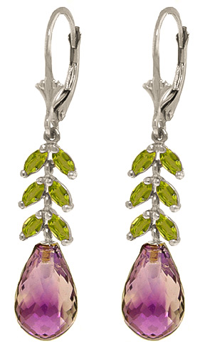 Amethyst & Peridot Drop Earrings in 9ct White Gold