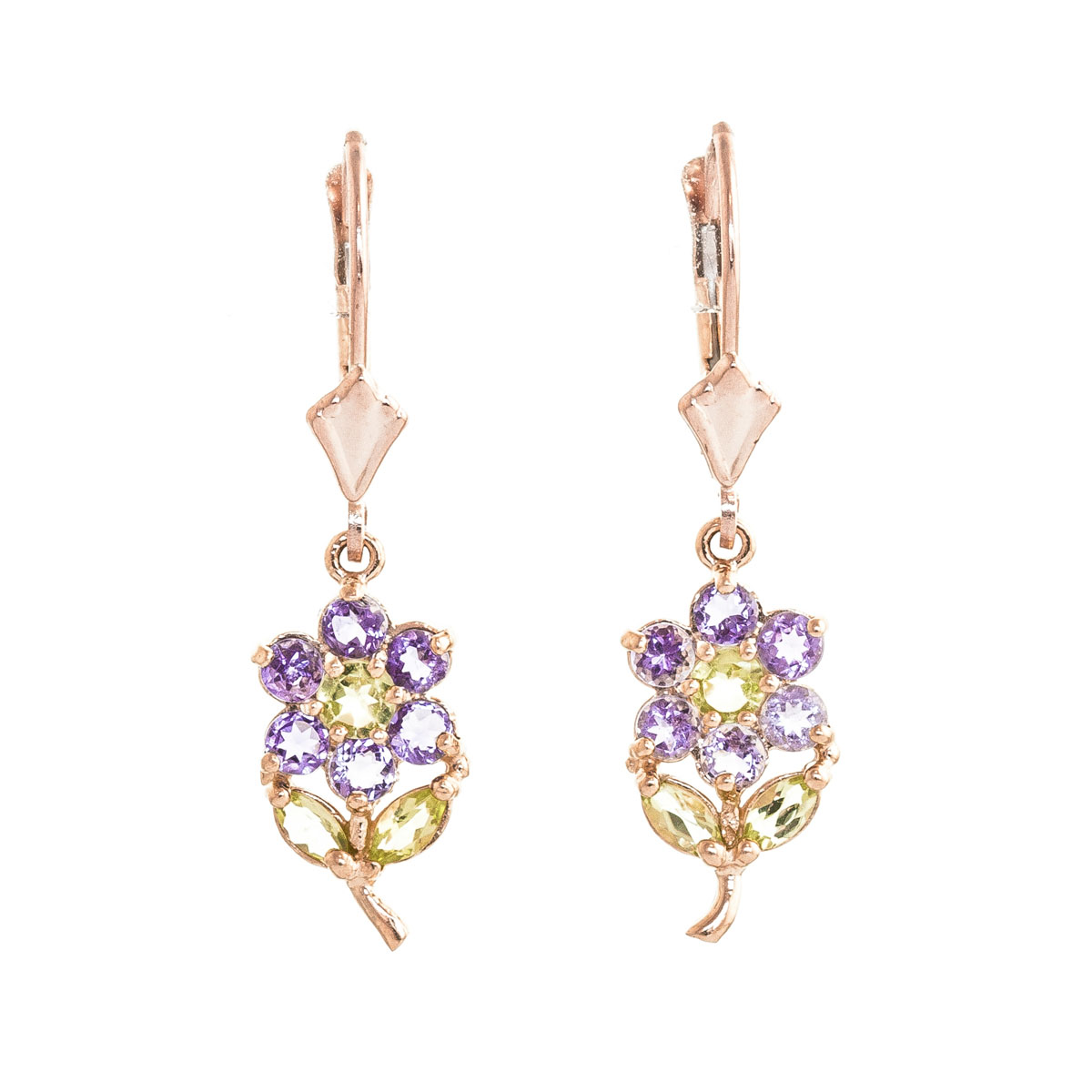 Amethyst & Peridot Flower Petal Drop Earrings in 9ct Rose Gold