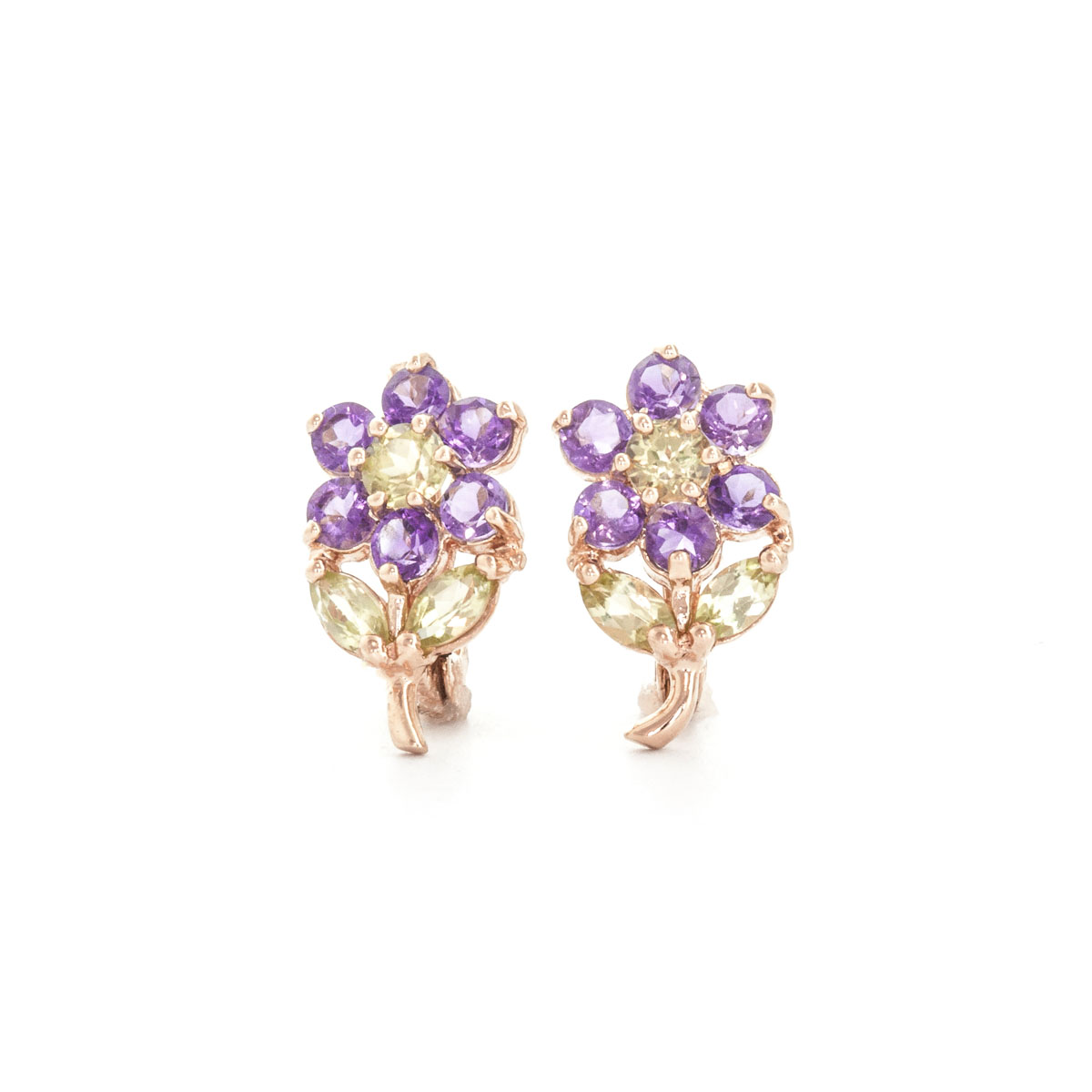 Amethyst & Peridot Flower Petal Stud Earrings in 9ct Rose Gold