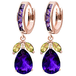 Amethyst & Peridot Huggie Drop Earrings in 9ct Rose Gold