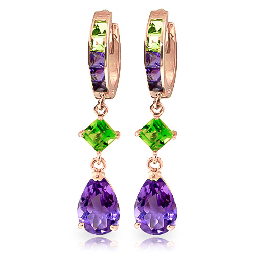Amethyst & Peridot Huggie Earrings in 9ct Rose Gold