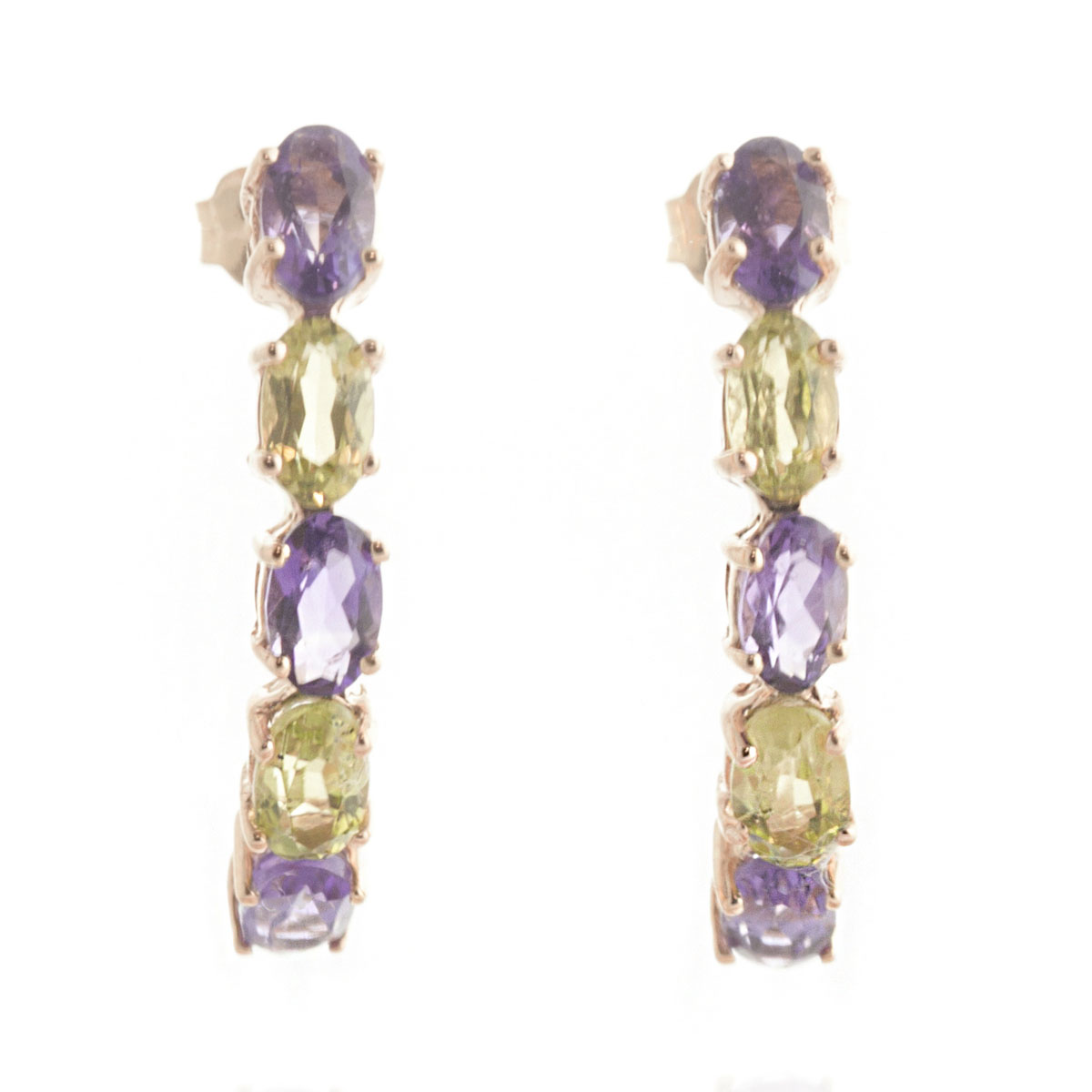 Amethyst & Peridot Linear Stud Earrings in 9ct Rose Gold