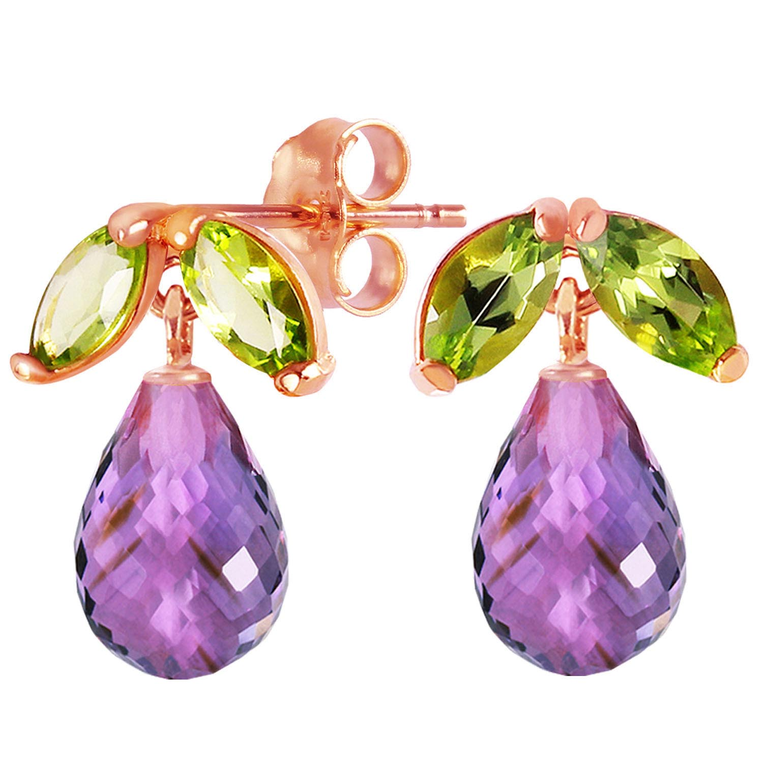 Amethyst & Peridot Snowdrop Stud Earrings in 9ct Rose Gold