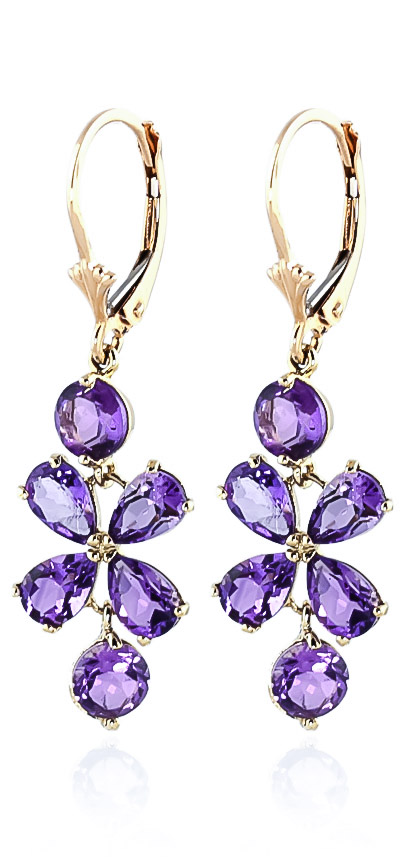 Amethyst Blossom Drop Earrings 5.32 ctw in 9ct Gold